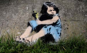 A Banksy piece which may be a tribute to Lara Egan which has appeared in Milton Avenue, Weston Super Mare, Somerset, March 9 2011. Little Lara dropped her father, Simon Egan's Oscar after the ceremony in LA. Banksy's film, Exit Through The Gift Shop, was nominated for an Academy Award at the same event.
